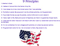 9 Principles (12 Values on back if avail)