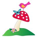 Toadstool w/ Butterfly & Bird