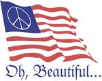 Oh Beautiful American Peace Sign Flag. ~ A peace symbol flies in the field of blue over the stars and stripes waving 'Oh Beautiful'.