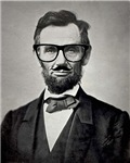 Hipster Abraham Lincoln with Mustache and Eyeglass