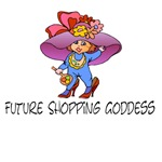 Future shopping goddess t-shirts and gifts.
