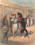 Cats Dancing, Vintage Art