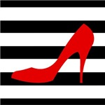 Red Heel on Stripes