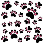 Pink Black Heart Paws