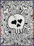 Skull, bones, hearts, art,