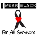 I Wear Black Ribbon For Survivors T-Shirts