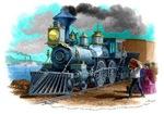Vintage Steam Locomotive Sketch