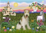 CASTLE WITH UNICORN<br>& Wire Fox Terrier