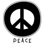 Peace Symbol: Black T-Shirts & Gifts ~
