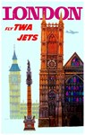 TWA Fly to London Vintage Advertising Print
