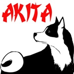 Akita dog design with dog jumping on back