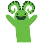 Green monster with horns kawaii