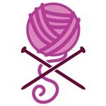 Knitting crossbones purple