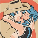 Sexy Western Cowboy Cowgirl Kissing Pop Art