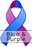 Blue and Purple Ribbon for Pediatric/Childhood Stroke Awareness