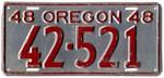 1948 Vintage Oregon License Plate