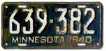 1940 Minnesota License Plate