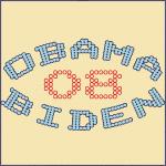 Blue and Orange Chic Dots Obama-Biden 08