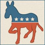 Retro Pressed Democratic Donkey