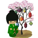 Green Kokeshi Doll