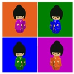 pop art  Kokeshi Dolls