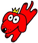 Red dog with crown