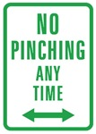 No Pinching Sign