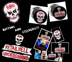 RHU STICKERS AND BUTTONS