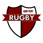 Rugby Shield White Maroon Personalize