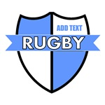 Rugby Shield White Lt Blue Personalize