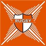 Rugby Shield White Orange Stripes