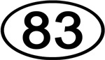 Number 83 Oval (Black)