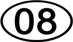 Number 08 Oval (Black)