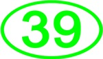Number 39 Oval (Green)