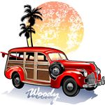 Classic Vintage Woody | 1950's Hot Rod Surfing T-shirts & Gifts