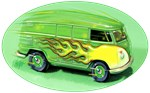 VW Bus with Flames