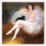 VINTAGE CAT ART: BALLERINA & BLACK CAT
