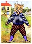 CAT WEARING BREECHES: VINTAGE CAT ART
