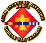Army - 45th Inf Div w Korean War SVC Ribbons