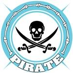 Light Blue Pirate Skull and Swords