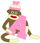 Sock Monkey Girl Custom Monograms