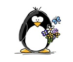 Penguin with Flower Bouquet