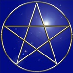 Gold on Blue Pentagram