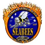 USN Navy Flaming Fighting Seabees