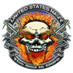 USN Navy Flaming Skull