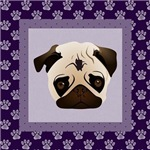 Pugs on Purple Paw Prints