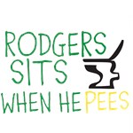 RODGERS SITS WHEN HE PEES