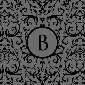 MONOGRAM Grey & Black Damask Pattern