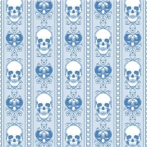 Baroque Skull Stripe Pattern Blue