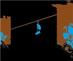 Shoes on a Power Line T-shirts (Blue Brown)